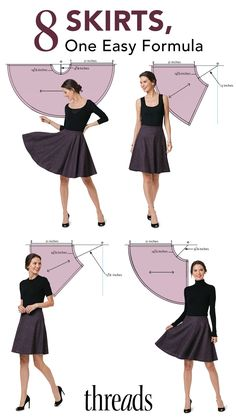Skirt Formula: In this Threads Insider feature, Raminta Vilkiene will introduce you to a simple geometry formula that can help you easily create eight different skirts. Because there are only six steps to create the pattern, as you do this more, you may find that it is easier to draw cutting lines on the fabric rather than drafting a pattern.  #skirts #garment