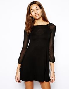 Image 1 ofClub L Swing Dress with Sheer Sleeves