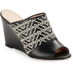 Aquatalia Sonya Basket-Weaved Wedge Mules ($395) ❤ liked on Polyvore featuring shoes, black, black wedge heel shoes, cushioned shoes, peep toe mules, wedge mule shoes and peep-toe mules