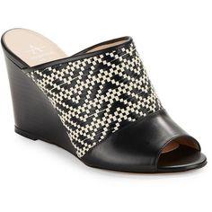 Aquatalia Sonya Basket-Weaved Wedge Mules ($395) ❤ liked on Polyvore featuring shoes, black, black wedge heel shoes, cushioned shoes, peep toe mules, wedge mule shoes and peep-toe mules
