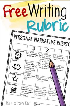 Here's a free writing rubric for teaching how to write personal narratives in primary grades - first grade, second grade, and third grade!