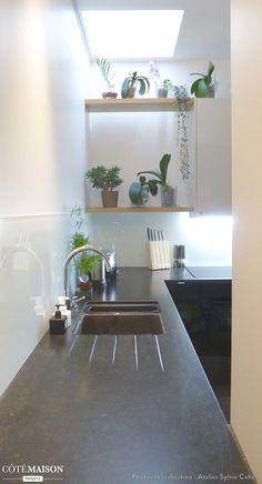 Des plantes d'intérieur dans une cuisine ! Une bonne idée pour apporter un peu de fraîcheur à côté de l'évier !