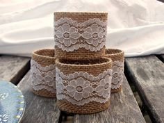 Burlap Napkin Rings with White Vintage Lace set by HomeDecorLab