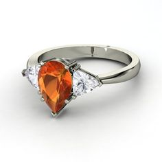 Fire Opal 18K White Gold with White Sapphire side stones Ring  $2,348.00