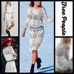 """FREE PEOPLE Boho White Crochet Lace Dress RETAIL: $168  NEW WITH TAGS   FREE PEOPLE Boho Crochet Lace Midi Dress                                                                  * Semi-relaxed silhouette, boat neck, drawstring waist,& long sleeves   * Allover sheer crochet lace detail * It measures about 45.5"""" long * Detachable 'slip dress' lining   Fabric: 53% Cotton & 47% Nylon Polyester  Color: Ivory FP9900  No Trades ✅Offers Considered*/Bundle Discounts✅ *Please use the 'offer' button to…"""