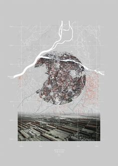 drawingarchitecture:  Gauthier Durey, 'Landscape urbanism interpretive mapping', 2015, Digital collage.