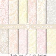 Lace Digital Paper, Wedding Digital Papers, Pastel Colors, Scrapbook Digital Paper Pack, Lace - INSTANT DOWNLOAD  - 1918