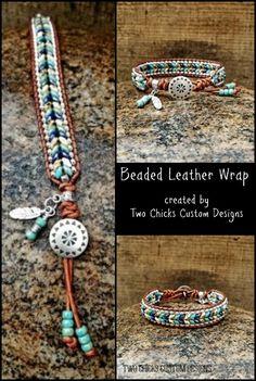 Southwestern inspired beaded leather wrap bracelet created by Two Chicks Custom Designs Diy Jewellery, Boho Jewelry, Beaded Jewelry, Jewlery, Handmade Jewelry, Jewelry Making, Wrap Bracelets, Leather Bracelets, Leather Jewelry