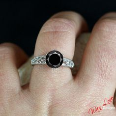 Black Diamond 2ct 8mm Filigree Milgrain by WanLoveDesigns on Etsy