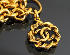 Vintage CHANEL Gold Logo Double Chain Necklace by fashionsquid