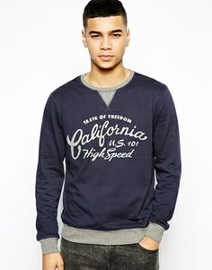 Solid Sweatshirt With California Print