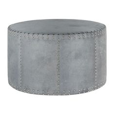 Karin Round Nailhead Ottoman Steel Blue Ottomans ($429) ❤ liked on Polyvore featuring home, furniture, ottomans, nailhead ottoman, blue ottoman, blue footstool, nailhead furniture and steel furniture