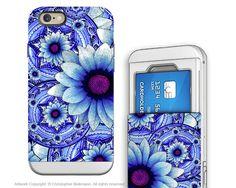 Blue Floral iPhone 6 6s Cardholder Case - Talavera Alejandra - Floral Credit Card Holder Wallet Case for iPhone 6s
