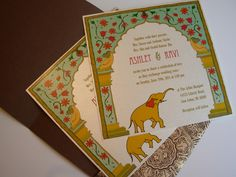 Indian Wedding Invitation and RSVP Card with Elephant and New Delhi 'Red Fort' Arch design Wedding Card Design Indian, Indian Wedding Cards, Indian Wedding Invitations, Printable Wedding Invitations, Diy Invitations, Invitation Design, Wedding Stationery, Invitation Ideas, Invites
