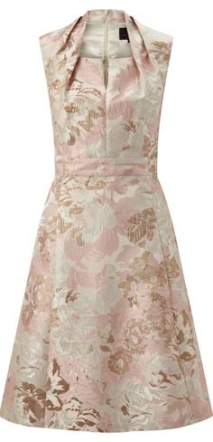 GINGER MOTHER OF THE BRIDE DRESS  This beautiful pastel rose jacquard mother of the bride dress is true sophistication. With a nod to the 50's in design it features a pleated neckline and keyhole at the front. The fit and flare silhouette looks fabulous worn with the Mirabel Jacket.  £229.00