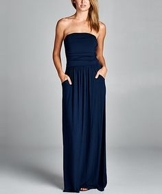 Love this Navy Ruched Strapless Maxi Dress on #zulily! #zulilyfinds…also in teal
