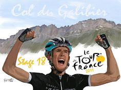 Pro cyclist Andy Schleck winning a stage at the Tour de France. Computer painting (Adobe Photoshop) based on photograph copilation from news media. Poster 20X30. By Randy Wrighthouse