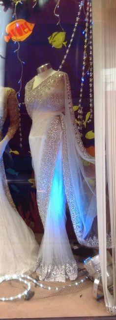 Anokhi - Leicester - white saree Indian Attire, Indian Ethnic Wear, Net Saree, Lehenga Choli, Anarkali, Saris, Indian Dresses, Indian Outfits, Moda India
