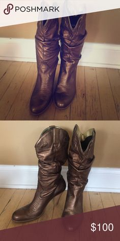 Bronze Jessica Simpson Cowboy Boots size 9.5 Bronze! Super comfy. Worn twice! Jessica Simpson Shoes Heeled Boots