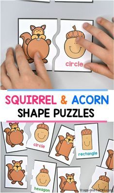 Squirrels are looking for their acorns! Celebrate fall with these FREE Shape Puzzles! This is a fun printable activity, featuring adorable squirrels and smiling acorns. Your kids will match shape squirrels with matching shape acorns! Fall Preschool Activities, Free Preschool, Preschool Lessons, Preschool Classroom, Preschool Learning, In Kindergarten, Toddler Activities, Preschool Fall Theme, Shape Puzzles