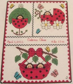 cross stitch patterns birth record elephant   Embroidery Ideas   Project on Craftsy: Cross Stitch Ladybug ...