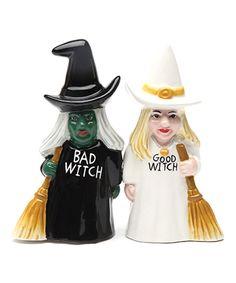Bad & Good Witch Ceramic Salt & Pepper Shaker - Set of Two The Good Witch, The Worst Witch, Ceramic Boxes, Inked Shop, Kitchen Witch, Halloween Kitchen, Salt And Pepper Set, Salt Pepper Shakers, Pagan