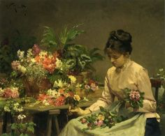 Victorian woman making a flower arrangement...Wish I knew who the artist was...