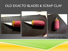 Do you have damaged exacto blades but don't want to throw them out? This mini polymer clay tutorial will show you exactly what to do with it