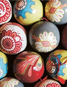hand painted, paper mache ornaments