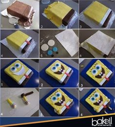 """BAKELL.COM - A great little step-by-step """"SpongeBob Square Pants"""" cake tutorial from Bakell! Bakell products are the leading choice for Cake Artist Professionals and Cake Artist Enthusiasts alike for everything confectionery decorating!   #bakell #buy_bakell #cake_artists_tools #bakingsupplies #decoratingsupplies #freeshipping #cookie_cutters cutters #stencils #siliconemolds #wholesale_prices #onlinestore #fondant #customcakes #spongebob"""