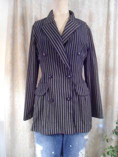 Pinstripe Blazer Gangster Coat Size Medium/Large by LandofBridget
