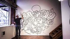 This is a time lapse of Andy Lunday turning one of the walls of the So-Hitek gallery into a giant coloring book for the public to color. Custom Wall Murals, 3d Wall Murals, Lion Painting, Mural Painting, Office Mural, Mountain Mural, Flower Mural, Ponds Backyard, Beginner Painting