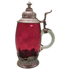 Vintage Cranberry Glass Stein