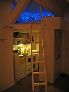I'm probably too old and creaky for a loft bed, but I love the efficient use of space, the hideaway feel of the bed area, the blue light and starry atmosphere, and the cat staircase on the lefthand wall.