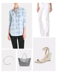 Let's go with a lighter palette for todays Outfit of the Day, and opt for the re-invented classic - white flared jeans - and pair them with an absurdly soft Rails shirts in faded buffalo check, and pale silver scalloped wedges. Graphite colored luxe tote by Annabel Ingall and an edgy bracelet add the finishing touches to the ensemble.