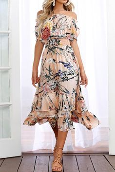699cedecf23 Catch the trend with this short sleeve floral off-shoulder dress! Explore  more fashion