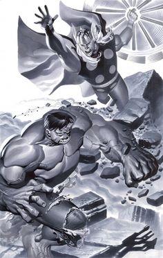 Hulk vs Thor Comic Art