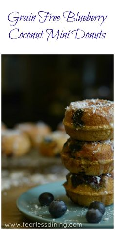 Grain Free Blueberry Coconut Mini Donuts  found at http://www.fearlessdining.com