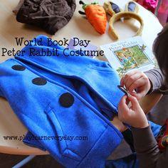 How to make a simple Peter Rabbit costume, no sewing involved for World Book Day or other dress up day. Story Book Costumes, Book Character Costumes, World Book Day Costumes, Book Week Costume, Boy Costumes, Halloween Costumes, Costume Ideas, Peter Rabbit Characters, Book Characters Dress Up