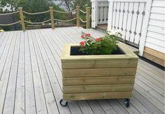 no, Slik lager du blomsterkasse med hjul - adressa. Garden Plants, Indoor Plants, Outdoor Furniture Plans, Backyard, Patio, Outdoor Living, Outdoor Decor, Planter Boxes, Summer Garden