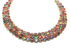 Tresor Collection - Multicolor Spinel, Tsavorite Garnet, Mandarine Garnet, Tanzanite, Tourmaline and Diamond necklace set in 18k Yellow Gold - Couture Candy