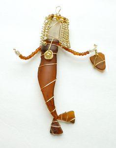 Sea Glass Mermaid Ornament Brown Mermaid Glows by oceansbounty