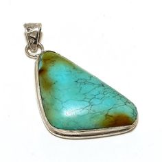 925 STERLING SILVER HANDMADE NATURAL TURQUOISE DESIGNER PENDANT JEWELRY