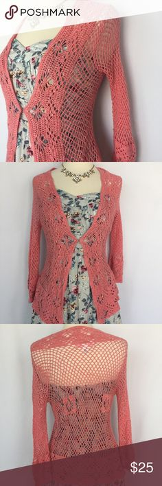 """Victoria's Secret pink crochet knit open cardigan Gently used Victoria's Secret pink crochet knit open cardigan size XS in excellent condition- no stains or holes. Approximate length 24"""". Perfect sweater to wear over summer dresses Victoria's Secret Sweaters Cardigans"""