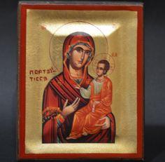Handmade Orthodox Icon Byzantine Greek Serigraph Virgin Mary Portaitissa