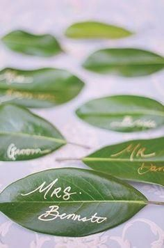 Green Wedding Colors: Gold pen + leaves = unique DIY placecards for a rustic outdoor wedding. Wedding Table, Diy Wedding, Wedding Day, Trendy Wedding, Wedding Seating, Wedding Reception, Reception Ideas, Perfect Wedding, 2017 Wedding