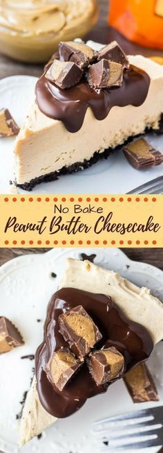 This no bake peanut butter cheesecake has an Oreo cookie crust, creamy peanut butter flavor, and Reese's peanut butter cups. So easy and only 15 minutes to make! # no bake Desserts No Bake Peanut Butter Cheesecake Peanut Butter Recipes, Creamy Peanut Butter, Peanut Butter Cups, Chocolate Peanut Butter Cheesecake, Peanutbutter Cheesecake Recipes, Peanutbutter Pie No Bake, Reeses Peanut Butter Cupcakes, Healthy Cheesecake Recipes, Cookie Butter