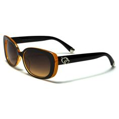 Romance Womens Oval Sunglasses Black and Orange with Brown Lenses