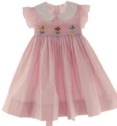 Girls Pink Polkadot Smocked Birthday dress with Cupcake smocking