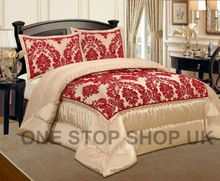 Luxurious 3 Pcs Flock Quilted Bedspread / Comforter Set - BEIGE WITH RED - RV  Product Description Gives you elegant, stunning and modern design of 3 pcs bedspread with microfiber feather in side and on the top use heavy Microfiber flocking for luxury smooth and soft feel like Velvet. Beautifully & modern flock design Bedspread / Comforter sets. Adorn your bed with a sophisticated, regal style with our elegant flocked bedspread